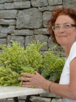 Rita, taking care of the Greek mountain tea she just collected from the mountains of Pindus around the Zagori